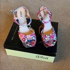 "Diba ""red floral"" wedges"